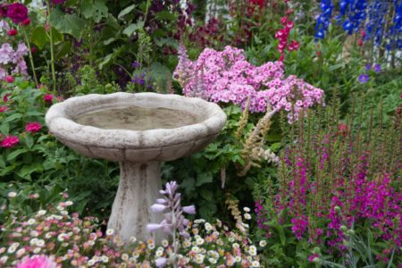 Birdbath in English Cottage Garden